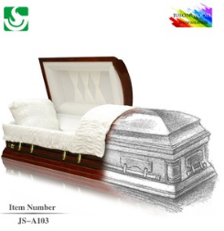 Hot sale JS-A103 Chinese manufacturer wooden casket