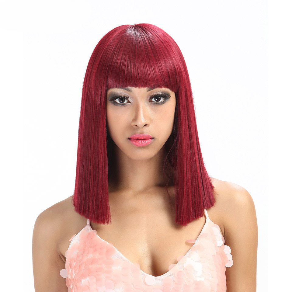 Noble gold synthetic hair four colors wigs synthetic hair silky straight wave machine made hair wigs