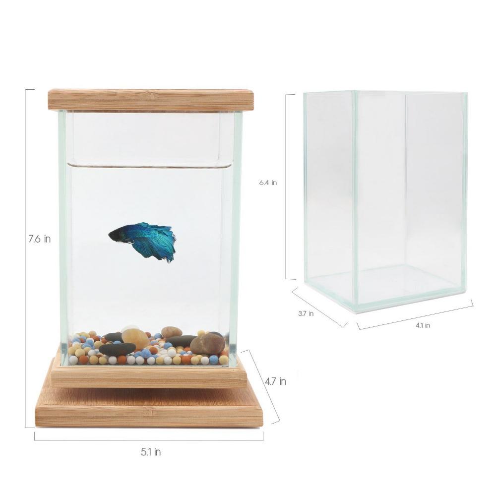 Unique Revolving Desktop 360 Degree Fish Tank with Glass Squ