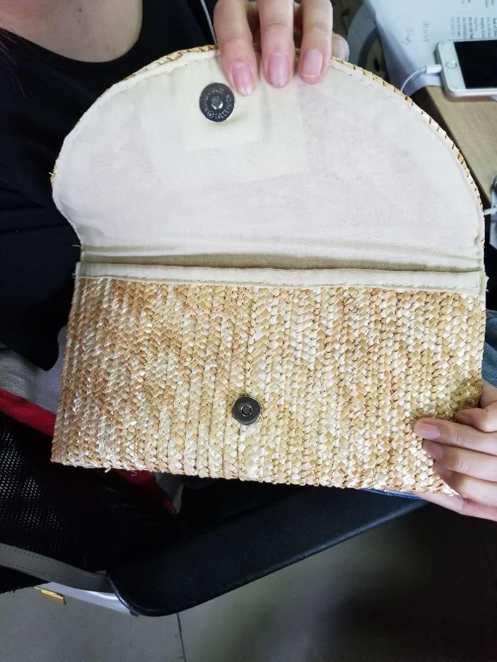 Handmade straw clutch bag ladies handbags