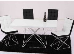 White black Modern living dining room tables chair sets furniture design metal frame black white lacquer glass dining table