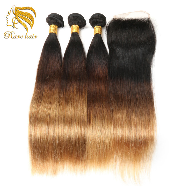 Ombre 3 Tones Color 1B/4/27 Virgin Brazilian Silky Straight Human Hair Weave Bundles With Closure